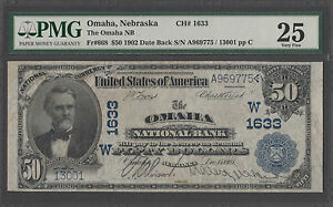 1902 $50 Date Back National Bank Note PMG 25 VF