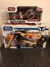 Star Wars The Clone Wars Lot Republic Gunship/ Battle Packs Bubble-turret Cannon
