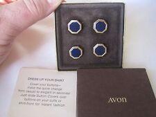Avon Royal Blue Button Covers / Button Links  - Cufflinks for Button Cuffs!