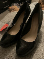 M&S Black Patent High Heeled Shoes, Size 7, Brand New with Tags