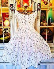 Betsey Johnson VINTAGE Dress ROSEBUD Floral FIT & FLARE White Backless S 2 4 6