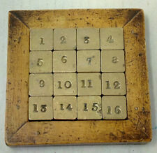 Vintage Brass 16 Numbers Sliding Puzzle Game Classic Toy Hand Made