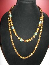 """Vintage lot of 2 tiger eye knotted Cloisonne bead beads necklace 15"""" & 12"""" drop"""