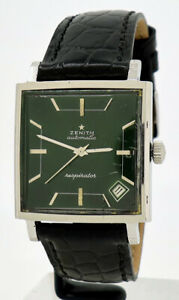 Zenith ref 14031 Steel Automatic 30mm 1970s Vintage Green Dial Respirator