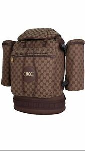 100% Authentic GUCCI Burgundy GG Supreme Canvas Large Backpack