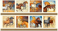 "WILD HORSES FABRIC MUSTANG SUNSET COTTON PATCH - CREAM QUILTING TREASURE 23""x44"""