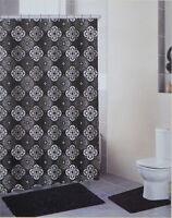 4 Piece Black Bath Set:2 Chenille Floor Mats, Fabric Shower Curtain,Roller Hooks