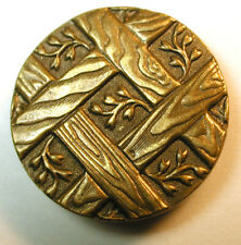 "Antique Brass Button French Tight Paris Back Leaves & Trellis Design 1 & 1/16"""