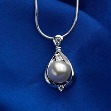 New Fashion Womne Water Drop Pendant Pearl Necklace Jewelry Chain Gift White CO