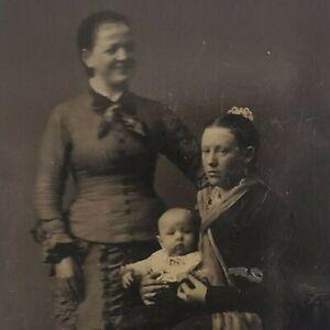 Happy Ghost Spirit Watching Mom Baby 1880s 1/6 Plate Tintype Ferrotype Photo C30