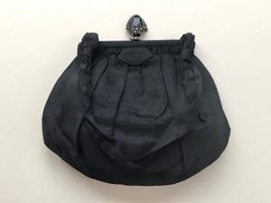 c1920s Antique Black Silk Evening Clutch Bag, Handbag, whitby jet