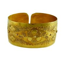 Stunning Hand Made 14K Yellow Gold Wide Floral Cuff Bracelet 21.2 Grams
