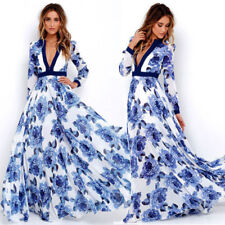 Womens Floral Print Boho Summer Holiday Evening Party Cocktail Beach Maxi Dress