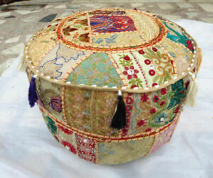 Traditional Handmade Patchwork Round 14X18 Inch Vintage Ottoman Pouf Cover New