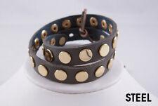Linea Pelle Gold Flat Stud Double Wrap Bracelet STEEL