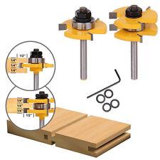 "2Pcs Match Tongue & Groove Router Bit Set 3/4"" Stock 1/4"" Shank Wood Cutter Tool"