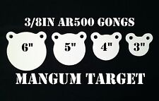 3,4,5&6in. AR500 Gong Shooting Targets - 3/8in.Rifle Targets - 4pc Steel Targets