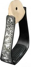 Showman BLACK Aluminum Stirrups w/ Silver Engraving & Rubber Grip Treads!! NEW!!