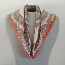 Vintage JALEH AND JOSEPH Square Scarf Silk? Cream & Orange 26 x 25.5