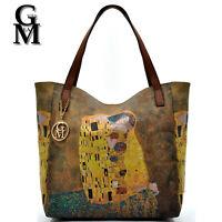 GM milano Borsa donna Shopping quadri IL BACIO dipinto stampa pelle Gustav Klimt