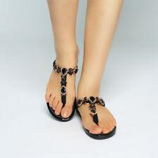 Women Rhinestone T-Strap Sandals Thong Flip Flops Summer Casual Flats Shoes