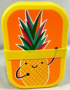 NEW Yellow and Orange Pineapple Kid's Bento Lunch Box with Divider