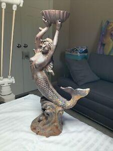 "Vtg Cast Iron Mermaid Holding Sea Shell Candle Holder/Statue, 15"", Yard Decor"