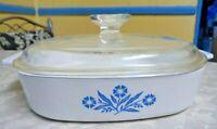 "Corning Ware Blue Cornflower Casserole Dish 8-10 9 8"" x 8"" x 1 3/4"" Pyrex Lid"