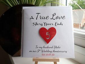 Personalised Wedding Anniversary Card ANY YEAR Husband Wife Boyfriend