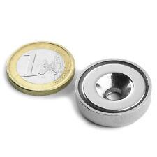 Super Magnete al Neodimio CSN-25 POTENZA 19 Kg FORO SVASATO + BASE IN ACCIAIO