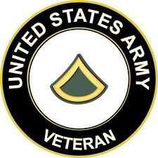 """Army Private First Class E-3 Veteran 5.5"""" Sticker 'Officially Licensed'"""