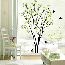 DIY Green Tree and Eight Black Birds Decal Room Wall Window Sticker Decor Pop