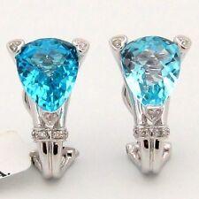 7.12CT Blue Topaz & Diamond Omega Clip Earrings Checkerboard Pear Shape 14KWG