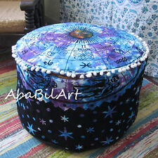 """24"""" New Indian Multicolored Large Pouf Cover Zodiac Mandala Foot Stool Cover Art"""