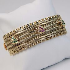 "HEAVY Emerald and Ruby Bracelet 18 kt Yellow Gold 6 3/4"" #6979"