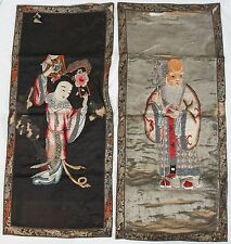 """Antique 34"""" Chinese Silk Embroidery Panel Pair Immortal Old Man & Shou Lao Magu"""