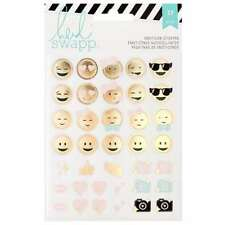Heidi Swapp Memory Planner Emoticon Stickers with Gold Foil Finish, Clear