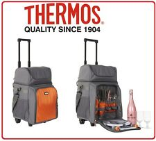 ❤ Thermos 4 Person Insulated Carry Bag Dual Cooler Picnic Set on Wheels Camping