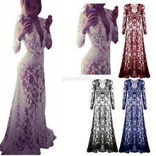 Women Lace See Through Maxi Dress Slim Bodycon Party Evening Long Dress Clubwear