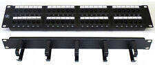 "CAT6 19 "" 48 porte pannello patch Anello + cavo ordinato Comms dati Rack Armadietto di rete"