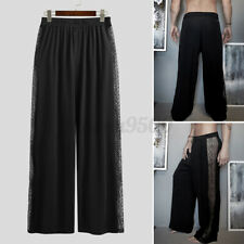 Mens Mesh Lace See Through Pants Casual Loose Yoga Beach Soft Wide Leg Trousers