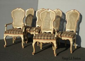 Set of Six Vintage French Country Cane Back Dining Chairs w Brown Plaid Fabric