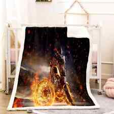 Extreme Sports Fire Wheel 3D Warm Plush Fleece Blanket Picnic Sofa Couch