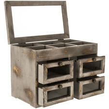 Rustic Distressed Wood Jewelry Box Gray Organizer with 4 Glass Paneled Drawers