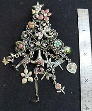 "4"" Vintage Kirk's Folly garden tree Rose dragonfly flower bug silvertone brooch"