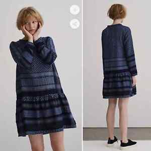 Cecilie Copenhagen 2 O cotton mini dress print navy long sleeve OS small medium