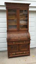 Victorian Eastlake Cylinder/ Roll Top Secretary Desks with Burl Wood Veneer