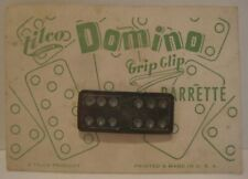 Old Unusual Plastic Jewelry Hair Barrette on Display Card - Domino Game Piece