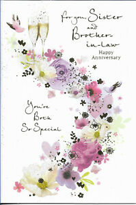 """SISTER AND BROTHER IN LAW ANNIVERSARY GREETING CARD 7""""X5"""" TRADITIONAL FREE P&P"""