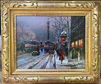 Paris Street Scene ROBERT DE CHATELENNE LISTED oil/cv Cortes 22k Gold Leaf FRAME
